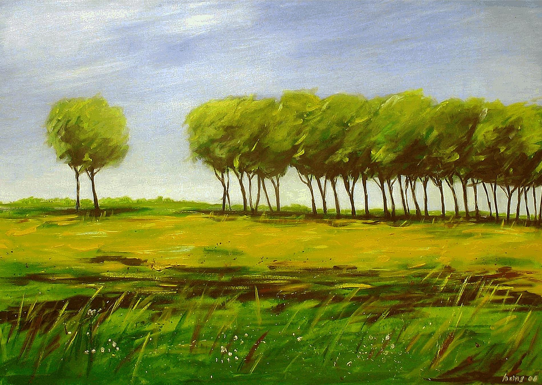Bomenrij  (acryl op doek)
