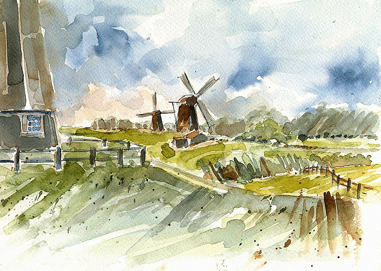 Zuidhollandse poldermolens (aquarel)